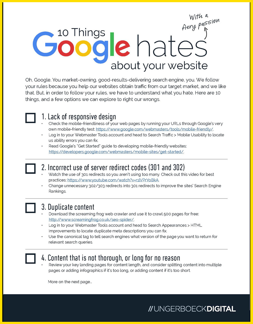 ungerboeck digital 10 things google hates checklist cover